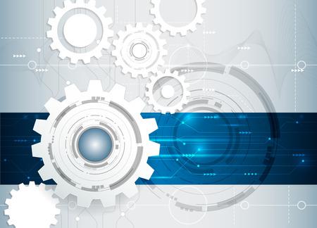ingeniería: Ilustración vectorial Resumen futurista engranaje blanco en la placa de circuito, negocio de la tecnología de alta ordenador, gris claro y azul el color de fondo Vectores
