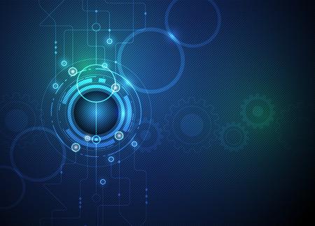 Vector illustratie Kort futuristische circuit board, high computer-technologie bedrijf, tandwiel op groene blauwe kleur achtergrond Stock Illustratie