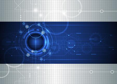 ベクトル図の抽象的な未来的な回路基板、高コンピューター技術事業、光グレーとブルー色の背景上ギヤ車輪