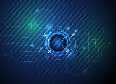 テクノロジー: ベクトル図抽象的な未来的な眼球回路基板、高コンピューター技術緑、青の色の背景