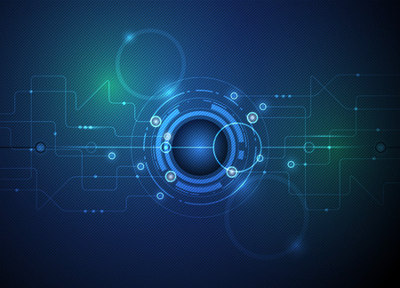 công nghệ: Vector hình minh họa trừu tượng của tương lai nhãn cầu trên bảng mạch, công nghệ máy tính cao màu xanh lá cây và màu xanh nền Hình minh hoạ