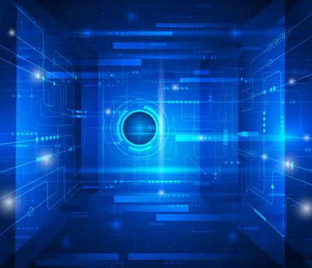 ベクトル図の抽象的な未来的な回路基板、高コンピューター技術背景、緑青い色の背景