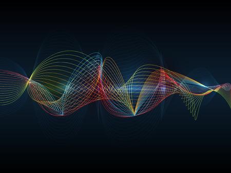 cerebro: Futurista tecnología de ondas digital vector concepto de ilustración de fondo abstracto