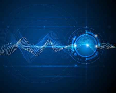 Illustration abstraite futuriste technologie des ondes numérique notion vecteur de fond Banque d'images - 42341707