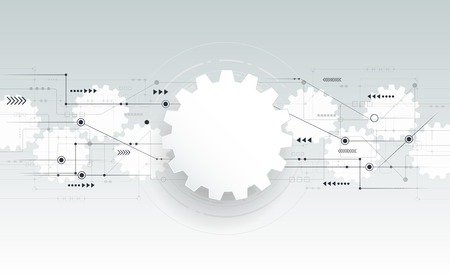 gear wheel: Vector abstract futuristic gear wheel engineering on circuit board, Illustration hi-tech electric digital telecoms speed technology on light grey color background Illustration
