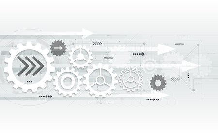 Vector abstract futuristic gear wheel engineering on circuit board, Illustration hi-tech electric digital telecoms speed technology on light grey color background Vectores