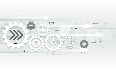 engranajes: Vector abstracto futurista ingeniería rueda de engranaje en la placa de circuito, Ilustración de alta tecnología eléctrica de tecnología digital de la velocidad de las telecomunicaciones en la luz de fondo de color gris Vectores