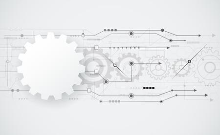 telecoms: Vector astratto futuristico ingegneria ruota dentata sul circuito, Illustrazione hi-tech elettrico, la tecnologia digitale la velocit� delle telecomunicazioni su sfondo grigio chiaro colore, 3d forma ruota dentata carta bianca .blank forma astratta ruota dentata per la progettazione.