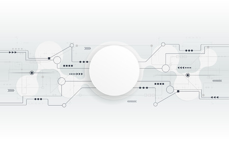 Vector illustration Abstract futuristic circuit board, hi-tech computer digital technology, Blank white paper circle for your design on light grey color background Vectores