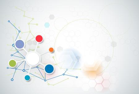 atomo: Resumen futurista - fondo de tecnología moléculas. Ilustración vectorial de diseño concepto de la tecnología digital. Espacio en blanco para su diseño