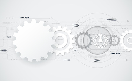 integrated: Vector abstract futuristic gear wheel engineering on circuit board, Illustration hi-tech electric, digital telecoms speed technology on light grey color background,Abstract 3d white paper gear wheel shape  .Blank gear wheel shape for your design.