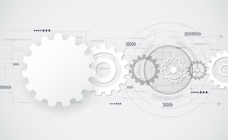 Vector resumen futurista ingeniería rueda de engranaje en la placa de circuito, Ilustración de alta tecnología eléctrica, tecnología de velocidad de telecomunicaciones digital sobre fondo de color claro gris, blanco 3d forma de rueda dentada de papel .Blank forma de rueda dentada abstracto para su diseño. Vectores