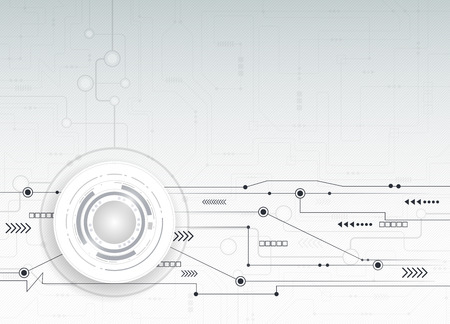 ベクトル図抽象的な未来的な回路基板、ハイテク コンピューター デジタル速度技術薄い灰色の背景