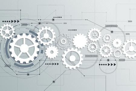 Vector abstracto futurista ingeniería rueda de engranaje en la placa de circuito, Ilustración de alta tecnología eléctrica de tecnología digital de la velocidad de las telecomunicaciones en la luz de fondo de color gris