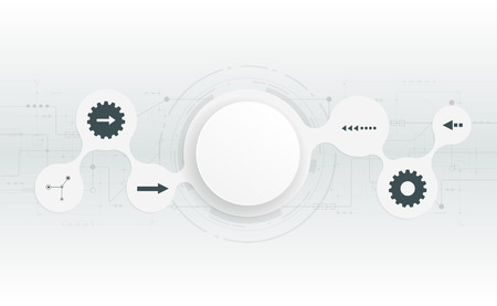 circuit: Vector illustration  futuristic.Abstract 3d white paper circle on circuit board .Blank circle for your design.Light grey hi-tech circuit board background