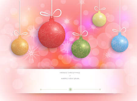 greeting christmas: Merry Christmas card design-Greeting cards with Christmas ball and copy space. . Space for text.Christmas Greeting Card.Red decorative star background.vector illustration Illustration