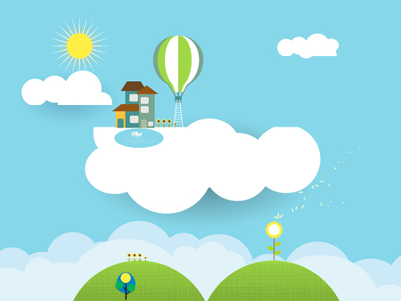scrapbook background: Illustration landscape paper cut-fantasy home sweet home ; sky with sun and cloud.Blank space for design Illustration