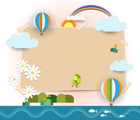 with space for text: Abstract paper-Blank paper notes background -space for text  post it notes.Travel and tourism concept. Illustration