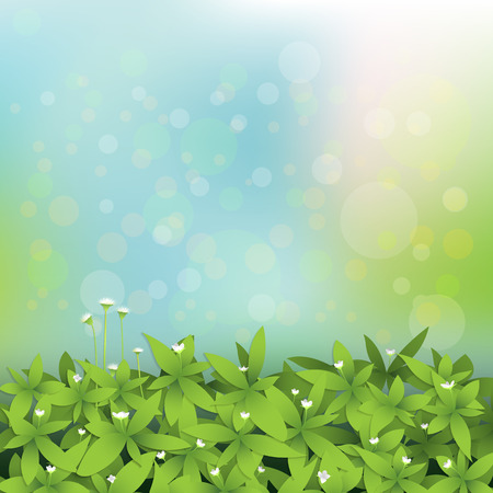 poster concepts: Vector illustration. Seamless green leaves with little white flower.Light blue-green color with blur bokeh background. Blank space for your design Illustration