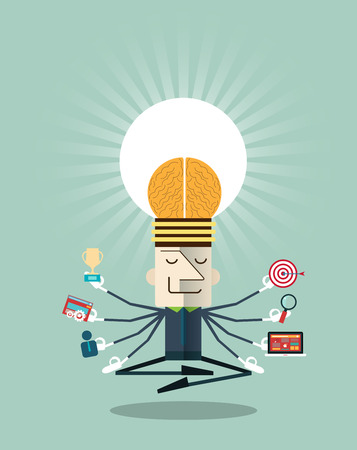 Ilustración del hombre de negocios meditando con los recursos multitasking.Human y conceptos de desarrollo personal - ilustración vectorial Foto de archivo - 42344376