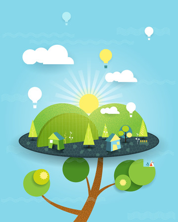 peaceful background: Illustration Fantasy of Tree house on the blue sky background. Abstract image paper cut with white cloud,sun,trees,flowers and balloon over the hill.  Vector file symbolic fantasy house on Peaceful green landscape