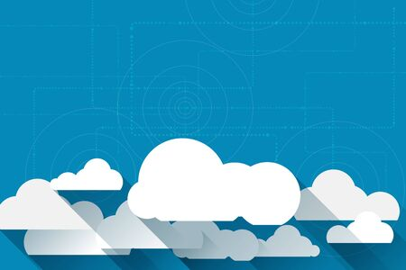 synchronizing: Vector paper clouds on a blue background with space for your design Illustration