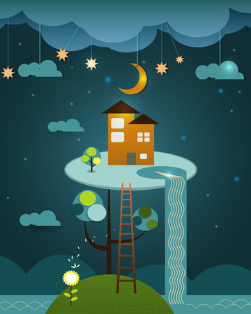 orange cut: Fantasy of orange colour home above the tree on the blue night sky background. Abstract image paper cut with cloud,orange moon,star,water fall,trees and hill. Illustration vector file the house on peaceful landscape Illustration