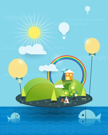Fantasía casa en la isla similar. Árbol, la flor y la colina verde con el sol y el arco iris, globo de aire caliente sobre la tierra con el cielo azul y nubes de fondo. Dos peces en el mar azul. Imagen abstracta de papel cortado para su diseño. Ilustración vectorial el archivo
