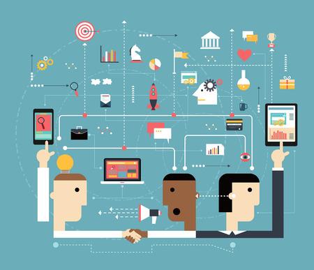 estrategia: La gente de negocios conectan el espacio en l�nea. Concepto de la red de comunicaci�n de marketing. La tecnolog�a de negocios: Iconos del ordenador, tableta, tel�fono y de interfaz