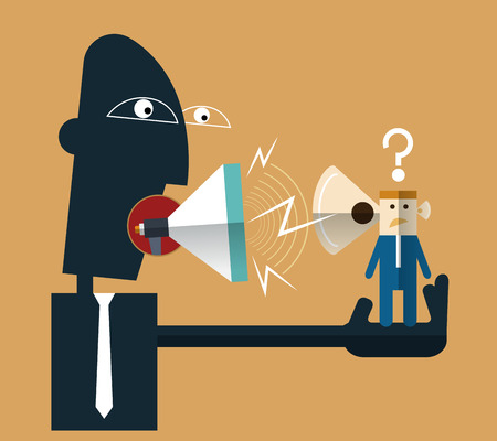 dictator: Vector illustration-Angry boss shouting at employee on megaphone