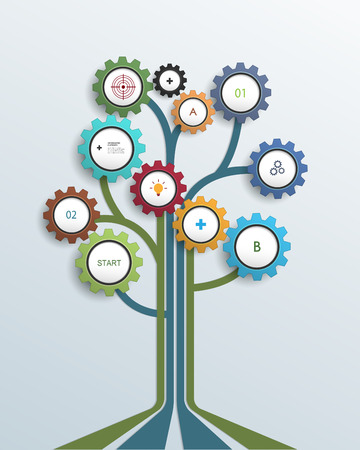 integrate: Abstract Growth tree concept with gear wheel and lines, can be used for place your content. Infographic, communication, icon, business, social media, technology, network and web design. Illustration