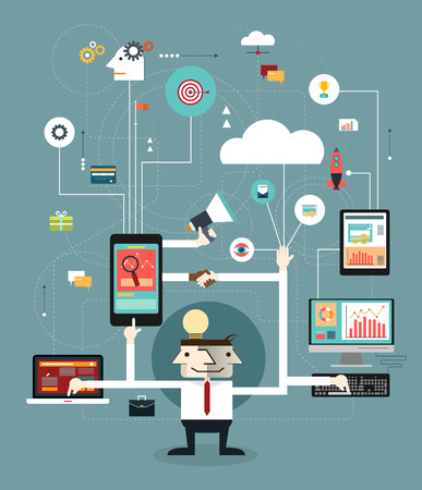 Business people connect the online space. Concept of communication-Marketing network. Business technology: computer, tablet, phone and interface icons