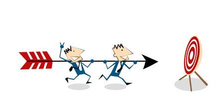 toro: Ilustración vectorial hombre de negocios la historieta que lleva la flecha y corriendo a golpear el centro de tiro al blanco en blanco con arco. El trabajo en equipo Conceptual de negocio de éxito meta. aislado en el fondo blanco. Vectores