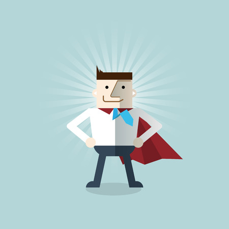 office force: Cartoon businessman Superhero with a red cape, vector  illustration , flat design