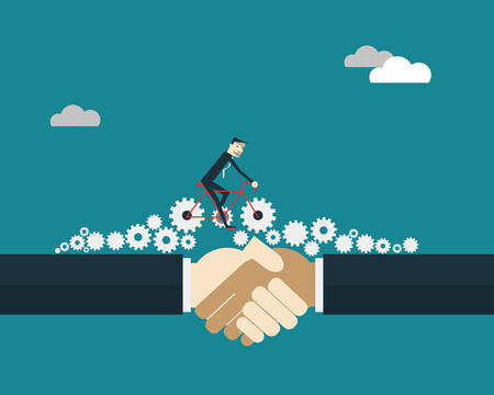 background information: Businessman riding bicycle with gears over  business people shaking hands