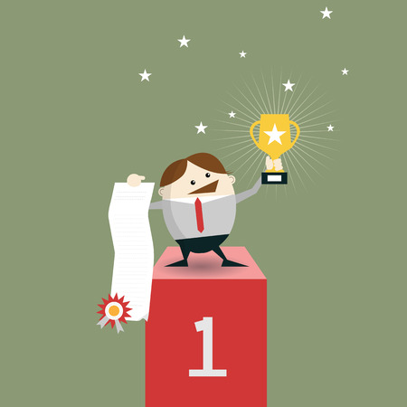 recompense: Businessman winner standing in first place on a podium holding up winning trophy and showing an award certificate. Vector illustration Flat style
