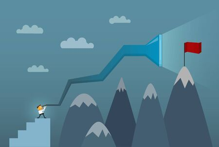 business success concept: Businessman looking through his telescope ,seeing into the future , flag on top of the mountain peak,Business success concept. Vector illustration.