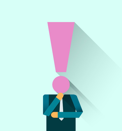 exclamation mark: Businessman with exclamation mark Head Illustration