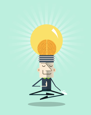 Businessman meditating in peace for any spiritual.Inner peace business concepts,vector illustration.