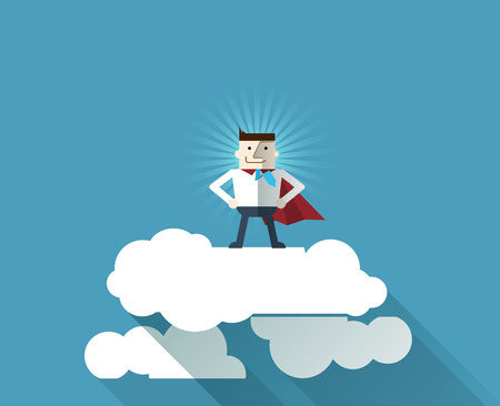 professional occupation: Cartoon businessman Superhero with a red cape on cloud, vector  illustration , flat design