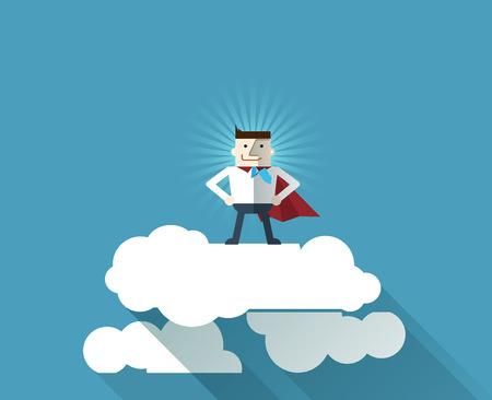 Cartoon zakenman superheld met een rode cape op wolk, vector illustratie, plat ontwerp