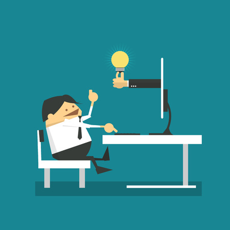 people laptop: Businessman in front of compute and get idea from internet. Online Business.Vector illustration
