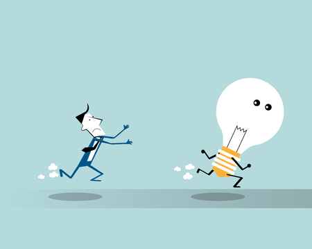 Vector illustration  businessman running  and trying to catch a big light bulb. Business concept and metaphor, symbol to human chase of idea conception