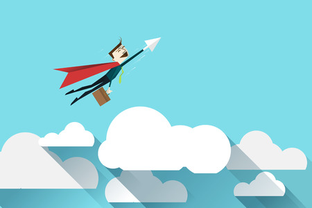 help: Cartoon businessman Superhero with a red cape on cloud, vector  illustration , flat design