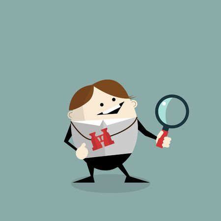 looks: businessman hanging binoculars and holding  magnifier for searching . vector file