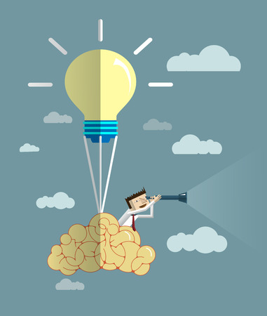 looks: Businessman looks through his telescope on brain balloon  with light bulb.Vision business concept