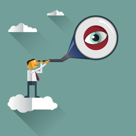 looks: Smart Businessman looks through his telescope on cloud.Vision business concept