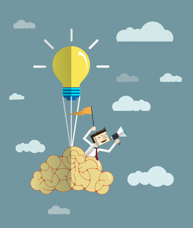 announcer: Vector illustration- Balloon brain with light bulb.Businessman get the idea concept and announcer with megaphone.Online Advertising- Social media concept
