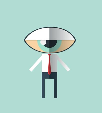 Vector Minimal flat design-businessman with a big eye as head .Looking Eye-human resource concept. Vectores