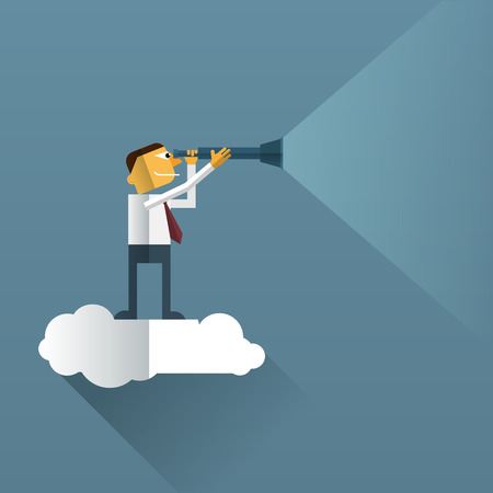man looking at sky: Smart Businessman looks through his telescope on cloud.Vision business concept